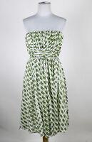 SUZI CHIN FOR MAGGY BOUTIQUE white & green print cotton silk strapless dress 2