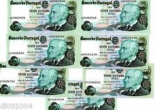 """7 Billets PORTUGAL  20 ESCUDOS 1978 P176 """"""""0+RADAR  N° """""""" XF - AU"""