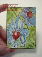 Original Fine Art ACEO Miniature PAINTING by Cathy Peterson = Flower Power 2