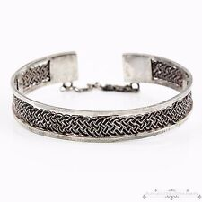 Antique Vintage Deco Sterling Silver Filigree Weave Womens Cuff Bangle Bracelet