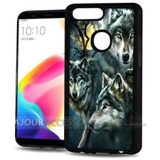 ( For Oppo AX7 ) Back Case Cover PBA30045 Night Wolf