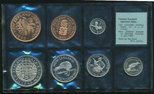 1965 NEW ZEALAND - OFFICIAL POLISHED SPECIMEN PROOF SET (7) - LAST PRE-DECIMAL