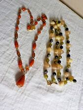 WORTHINGTON NECKLACES GOLDTONE METAL GREEN/CREAM & AMBER & ORANGE GLASS BEADS
