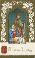 VINTAGE CHRISTMAS GOLD EMBOSSED NATIVITY STARS NIGHT BETHLEHEM GREETING ART CARD