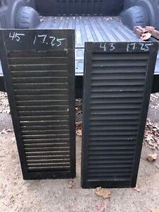 PaiR c1900 FIXED louvered VICTORIAN wooden house SHUTTERS green 43 & 45 x 17.25""
