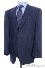 ISAIA Recent Blue Tonal Stripe SILK WOOL Jacket Pants SUIT Mens Bespoke 46 L