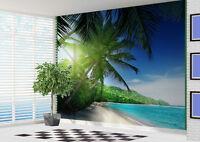 Beach Wallpaper Sandy Palm lined tropical Beach wall mural photo (19712445)