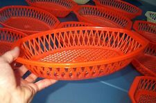 Picnic Food Basket Lot 1960s 1970s Orange Per Alimenti Italy G.M. Art-1115 Cups