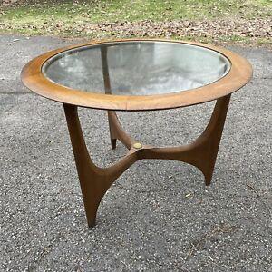 Lane Furniture 1044 Mid Century Adrian Pearsall Era Round Table W/ Glass