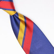 John G Hardy Mens Silk Necktie Large Scale Regimental Stripe Blue Red Yellow Tie
