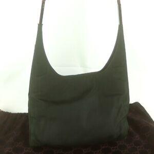 Auth GUCCI Nylon Canvas Shoulder Bag Hobo Purse 001 3708 Dark Green JUNK