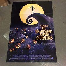 """original 1993 """"Nightmare Before Christmas"""" movie poster 2-sided Tim Burton NBC"""