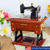 Vintage Wooden Mini Sewing Machine Style Musical Box Birthday Gift Table Decor