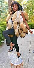 New Custom made designer Coyote tails Fur Vest, sleeveless coat Jacket S-M 0-10