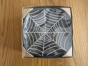 Set 4:Pottery Barn Spider Web Salad,Dessert,Appetizer Halloween Plates - New