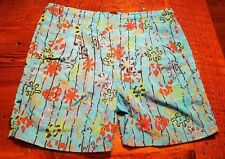 vintage mens Medium Hang Ten Nylon swim trunks short pleated blue