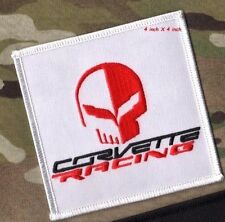 """HEARTBEAT of AMERICA CORVETTE RACING IRON-ON PATCH C-5 C-6 4"""" Red RACING SKULL"""