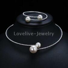 Diamante Crystal Pearl Balls Wedding Choker Necklace Bracelet Bridal Jewelry Set
