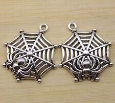 5 pcs Retro style Good luck spider web spider alloy charm pendant 35x31 mm