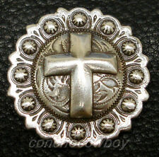"""WESTERN ANTIQUE SILVER CROSS BERRY SADDLE CONCHO 1-3/4"""" screw back"""