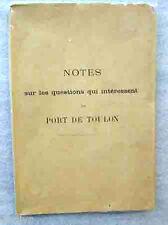 MARINE DE GUERRE RAPPORT INTERNE AUX ARMEES PORT DE TOULON 1901