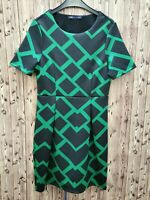 marks&Spencer Collection Ladies Dress Short Sleeves Black/Green Size 8