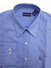 $95 JOHN ASHFORD Men's REGULAR-FIT WHITE BLUE CHECK DRESS SHIRT 15-15.5 34/35 M