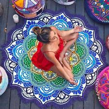 Indian Lotus Mandala Round Blanket Rug Tapestry Tassel Beach Throw Towl Boho