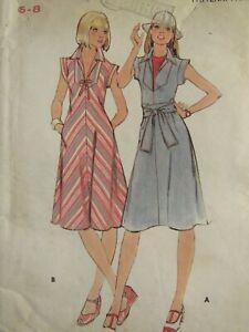 Amazing VTG 70s BUTTERICK 4835 Misses Flared Dress & Wrap Belt PATTERN 6-8