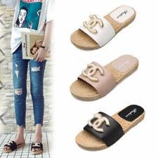 Flops Flip Summer Womens Mules Sliders On Slip Sandals Slipper Flat Ladies Pearl