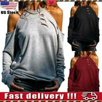 Womens Ladies Hollow Casual Long Sleeve Cold Shoulder Blouse Tops Loose T-shirt