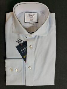 "New Charles Tyrwhitt Long Sleeve Blue Pin Stripe Button Up Shirt Size 15 - 33"""