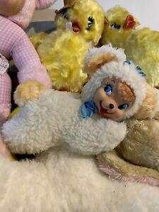 "Vintage Rubber Face Plush Lamb 10"""
