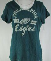 Philadelphia Eagles NFL Touch Women's Green V-Neck Short Sleeve Shirt