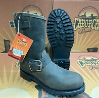 Men's Steel Toe Work Boots Genuine Leather Biker Oil Resistant Brown and Black