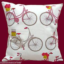 "Vintage Retro Bicycles 16""x16"" 40cm Cushion Cover Chic Ashley Wilde Cotton White"