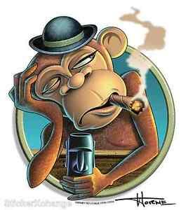 Drunk Monkey Sticker Decal Artist Doug Horne H5