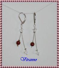 Boucles d'oreille étincelle bordeaux cristal 2. Bijoux mariage