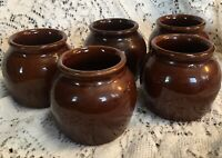 Lot of 5 Vintage Small Crocks USA Brown Bean Pot Bowls