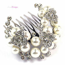 Pearl & Crystal Rhinestone Flowers Bridal Wedding Silver Hair Comb Slide HC08