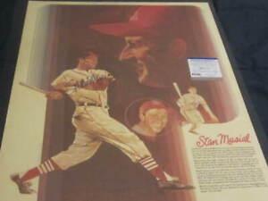 Stan Musial Autographed St Louis Cardinals Baseball 18x24 Poster Print PSA COA