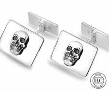 Sterling Silver Blackened Skull Cufflinks