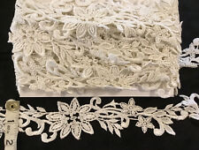"7 Yds 23"" VINTAGE DAISY White Embroidered Lace Bridal Trims Wedding 2-1/4"" 19893"