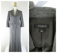 Ann Taylor Solid Gray Brown Wool Pant Suit Size 6 Formal Business Career