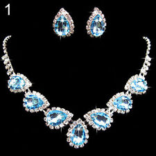 PARURE BIJOUX STRASS bleu collier boucle d'oreille mariage cérémonie soirée.