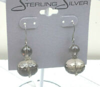 Vintage Sterling Earrings Faceted Smoky Quartz Stacked Bead Pierced Drop