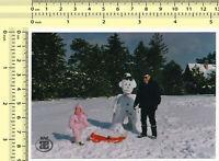 #038 1980's Snowman Winter Snow Kid Sledge Man vintage color photo original