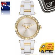 New Michael Kors Ladies Watch Delray White Acetate Gold Trim Glitz Bezel MK4315