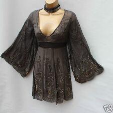 Limited KAREN MILLEN Grey Silk Beaded Art Work Cocktail Oriental Dress 10 UK