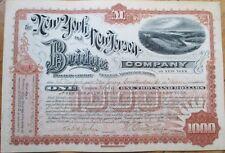 1892 Stock Certificate: 'New York & New Jersey Bridge Company' - NY/NJ